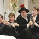 (L to R) Gary Beach as Roger De Bris, Roger Bart as Carmen Ghia, Nathan Lane as Max Bialystock and Matthew Broderick as Leo Bloom.