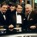 (L to R) Nathan Lane as Max Bialystock, director and choreographer Susan Stroman, Matthew Broderick as Leo Bloom and writer, producer and composer Mel Brooks on set.