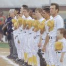 Right to left: Angus T. Jones, Dennis Quaid, Jay Hernandez, Angelo Spizziri, Rick Gonzalez, Brandon Garner and Chad Lindberg in Walt Disney's The Rookie - 2002