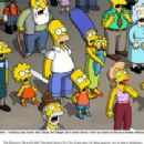 "The residents of Springfield -- including Lisa, Homer, Bart, Marge and Maggie (all in center frame) – look up in awe and fear as a disaster affecting their entire town is ""contained."" The Simpsons TM and © 2007 Twentieth Century Fox Film"