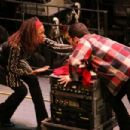 RENT: FILMED LIVE ON BROADWAY Pictured(l to r): Tracie Thoms as Joanne, Adam Kantor as Mark. Photo: Casey Stouffer. ©2008 Columbia Pictures Industries, Inc.