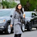 Jessica Gomes in Grey Long Coat – Out in LA - 454 x 476