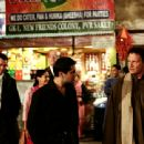 Background (L to R): John Tenney as Mark and Sheetal Sheth as Maya.  Foreground (L to R): Homie Doroodian as Mageed and Albert Brooks as himself in Brooks' Looking for Comedy in the Muslim World, a Warner Independent Pictures release. Photo credit: - 454 x 305