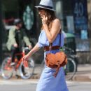 Helena Christensen in Blue Dress out in New York - 454 x 658