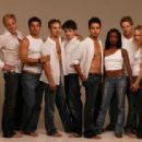 The cast of THE MOSTLY UNFABULOUS SOCIAL LIFE OF ETHAN GREEN. Left to right: Scott Atkinson, Diego Serrano, Daniel Letterle, Dean Shelton, Ramon De Ocampo, Shanola Hampton, David Monahan, and Rebecca Lowman. Photo: Bob Sebree. - 454 x 313