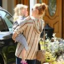 'The Justice League Part One' actress Amy Adams takes her daughter Aviana to a swim class in Studio City, California on May 9, 2015