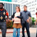 Calvin (Gary 'G-Thang' Johnson), Juney (Crista Flanagan), Will (Matt Lanter) and Lisa (Kim Kardashian) in DISASTER MOVIE. Photo credit: Jon Barren Farmer. - 454 x 303