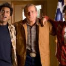 "Kal Penn (left) stars as ""Kumar,"" James Adomian (center) stars as ""George Bush"" and John Cho (right) stars as ""Harold"" in New Line Cinema's release HAROLD AND KUMAR ESCAPE FROM GUANTANAMO BAY. Photo Credit: Jaimie"