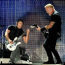 James Hetfield & Robert Trujillo perform onstage at the Rose Bowl on July 29, 2017 in Pasadena, California - 454 x 360