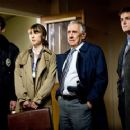L to R: Jamison Jones as Officer Bittner, Rebecca Pidgeon as Dr. Jessica Westmin, Philip Baker Hall as Captain Smith and Paul Joyner as Detective in David Ondaatje mystery thriller 'The Lodger.'