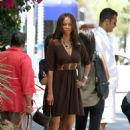 Tyra Banks Leaving The Little Next Door Restaurant In Hollywood - August 29 2009