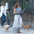 Minka Kelly in Long Skirt with her dogs in Hollywood - 454 x 303