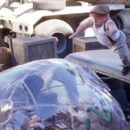Jimmy (Jake Gyllenhaal) encounters Dr. Phreak (Verne Troyer) in Touchstone's Bubble Boy - 2001