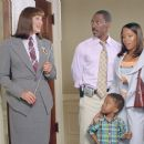 (L to R) Anjelica Huston plays the headmistress of the Chapman Academy at which Charlie (Eddie Murphy) and Kim (Regina King) hope to enroll their son Ben (Khamani Griffin)
