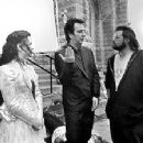 Alanis Morissette, Alan Rickman and writer/director Kevin Smith on the set of Lions Gate's Dogma - 11/99