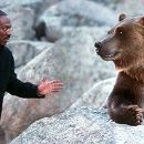 Eddie Murphy as Dr. Dolittle, watching TV with Archie, a city-dwelling, wisecracking, fast food-loving, circus performing bear voiced by Steve Zahn in 20th Century Fox's Dr Dolittle 2 - 2001