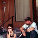Helena Bonham Carter and director David Fincher on the set of Fight Club - 10/99
