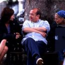 Minnie Driver, director Mel Smith and Mary McCormack on the set of Touchstone's High Heels and Low Lifes - 2001