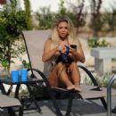 Bianca Gascoigne in Black Bikini in Cyprus - 454 x 467