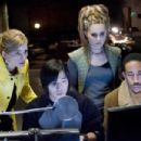Kyra Sedgwick (as Gina Parker Smith), Aaron Yoo (as Humanz Dude), Alison Lohman (as Trace), and Chris 'Ludacris' Bridges (as Humanz Brother) in GAMER. Photo credit: Saeed Adyani