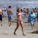 Ali Larter in Purple Bikini on Malibu Beach - 454 x 461