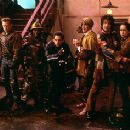 William H. Macy, Kel Mitchell, Ben Stiller, Hank Azaria, Paul Reubens and Janeane Garofalo are cornered by The Disco Boys in Universal's Mystery Men - 1999