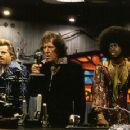 Eddie Izzard and Pras flank Geoffrey Rush in Universal's Mystery Men - 1999