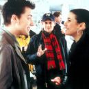 Lance Bass, director Eric Bross and Emmanuelle Chriqui on the set of Miramax's On The Line - 2001