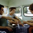 Director Todd Phillips (left) goes over a scene with stars Breckin Meyer and Seann William Scott in Dreamworks' comedy Road Trip - 2000