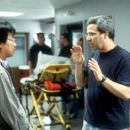 Director/screenwriter James Wong and producer/screenwriter Glen Morgan on the set of Columbia's The One - 2001