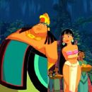 Chel (Rosie Perez) intercedes for Tulio and Miguel with the Chief (Edward James Olmos) in Dreamworks' The Road To El Dorado - 2000