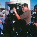 Rene Russo is directed by John McTiernan on the set of The Thomas Crown Affair