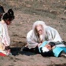 Great Lord Hidetora (Tatsuya Nakadai) laments the loss of his slain son Saburo (Daisuke Ryu) in Akira Kurosawa's Ran - 1985, re-released by Winstar in 2000