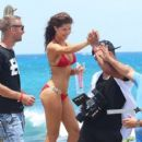 Amanda Cerny shoots a sexy music video for DJ Chuckie directed by Dirty Dutch Mario Gonsalvez, in Oranjestad Aruba on September 10, 2014 - 403 x 594