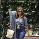Eva Mendes wears Polka Dots & Jean Skirt