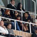 Irina Shayk and Cristiano Ronaldo, Jr. watching his dad play soccer in Madrid, Spain (April 20)