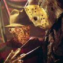"(left to right) Robert Englund as ""Freddy Krueger"" and Ken Kirzinger as ""Jason"" in New Line Cinema's upcoming Freddy Vs. Jason."