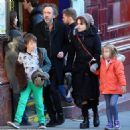 Quality time: Helena Bonham Carter bundles up for family outing with Tim Burton and their two children in North London - 454 x 456
