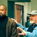 Denzel Washington and director Norman Jewison on the set of Universal's The Hurricane - 1999