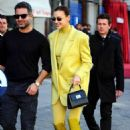 Irina Shayk – All in neon yellow at the Furla event at Piazza Beccaria in Milan