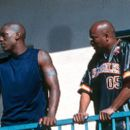 Tyrese Gibson and John Singleton on the set of Columbia's Baby Boy - 2001