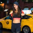Victoria Justice in Tights and Sports Bra – Out in Chelsea - 454 x 681