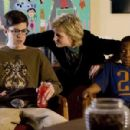 Christopher Mintz-Plasse, Jane Lynch and Bobb'e J. Thompson in the scene of Universal Pictures' Role Models.