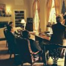 George W. Bush (Josh Brolin, left) and George H. W. Bush (James Cromwell, standing, far right) in W., directed by Oliver Stone. Photo credit: Sidney Ray Baldwin