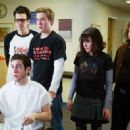 Windows (Jay Baruchel), Linus (Chris Marquette), Eric (Sam Huntington), Zoe (Kristen Bell) and Hutch (Dan Fogler) in the scene of Fanboys.