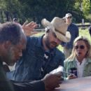 Samuel L. Jackson (left) and Criag Brewer (center) on the set of Paramount Classics' Black Snake Moan - 2007