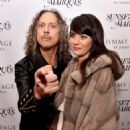 Kirk Hammett and Lani Hammett  pose at a private reception and dinner for Jimmy Page to celebrate his new autobiography