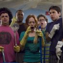 (L to R) Glen (Adam Herschman), Hands (Columbus Short), Rory (Maria Thayer), Schrader (Jonah Hill) and B (Justin Long) in Accepted.