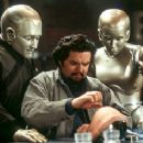 Robin Williams and Kiersten Connelly watch Oliver Platt test his external modification designs in Touchstone's Bicentennial Man - 12/99