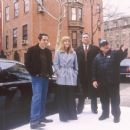 Ben Stiller, Drew Barrymore, Harvey Fierstein, and Danny DeVito on the set of Duplex